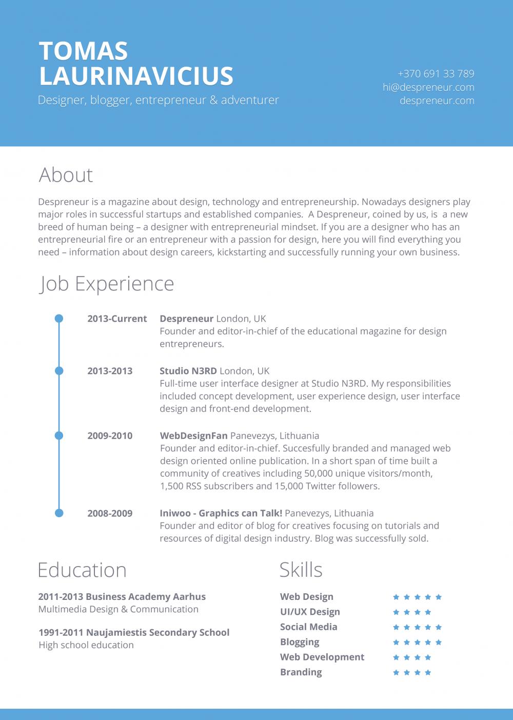 Free Minimal Resume Template Design Apresentação