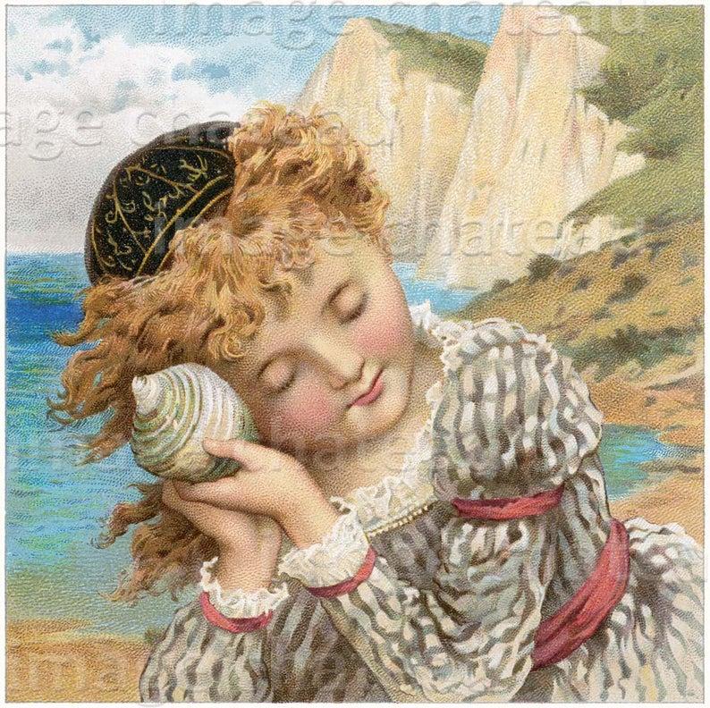 SEA SHELL Beautiful Little Girl Listening NEW Giclee Print
