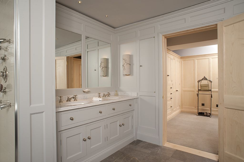 Panelled Bathroom Vanity Unit With View Through Door To Sycamore Dressing Room