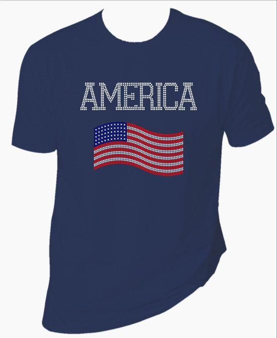 America with Flag rhinestone TShirt. Your choice by MoreThanGlitz, $35.00