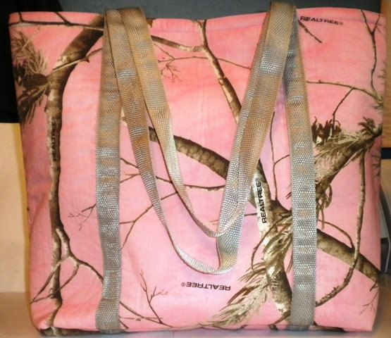 Pink Camo tote bag lined with inside pocket pink by LaurieEmporium