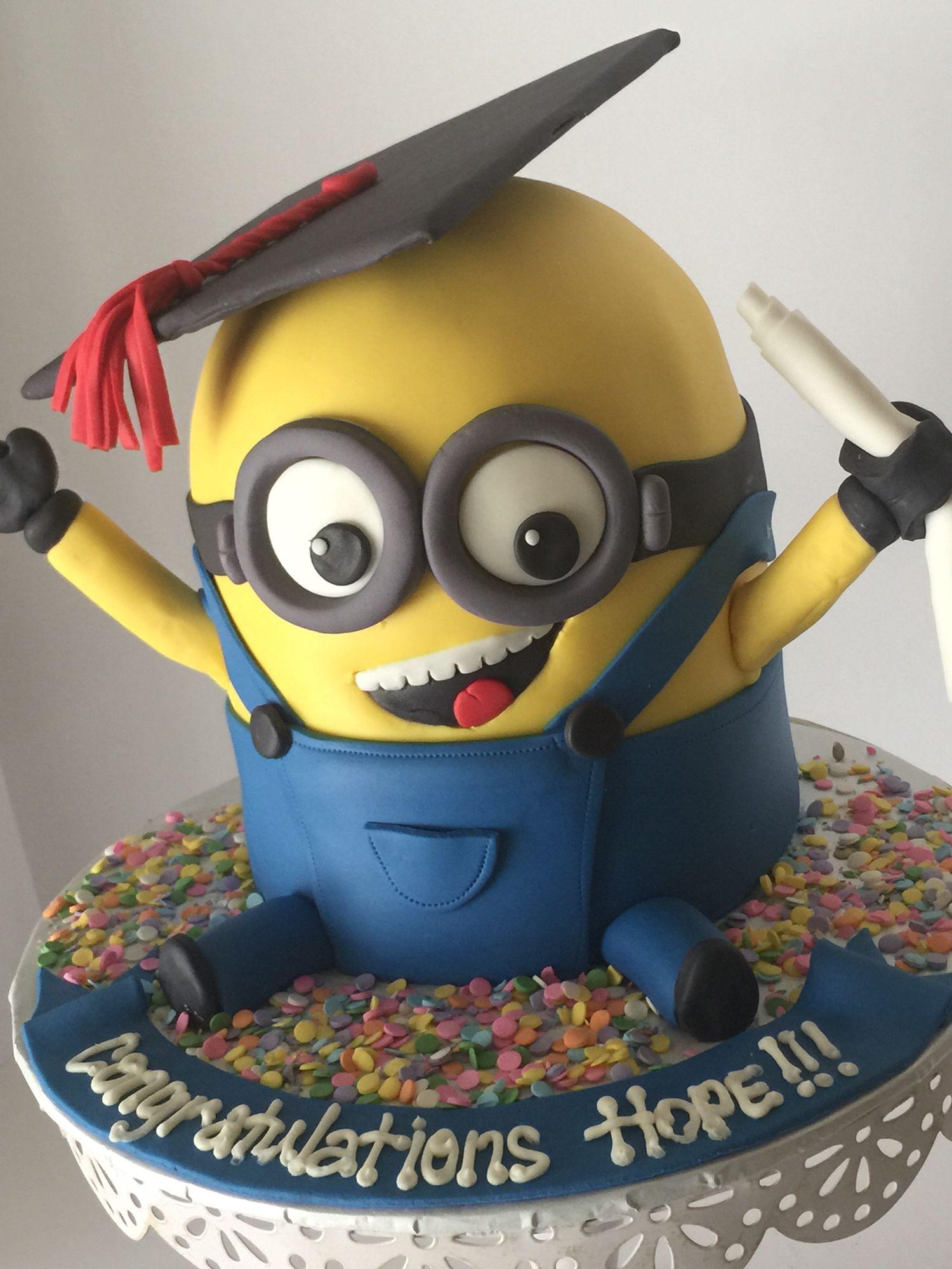 Minion graduation cake graduation pinterest cake graduation and cupcakes - Cake decorations minions ...