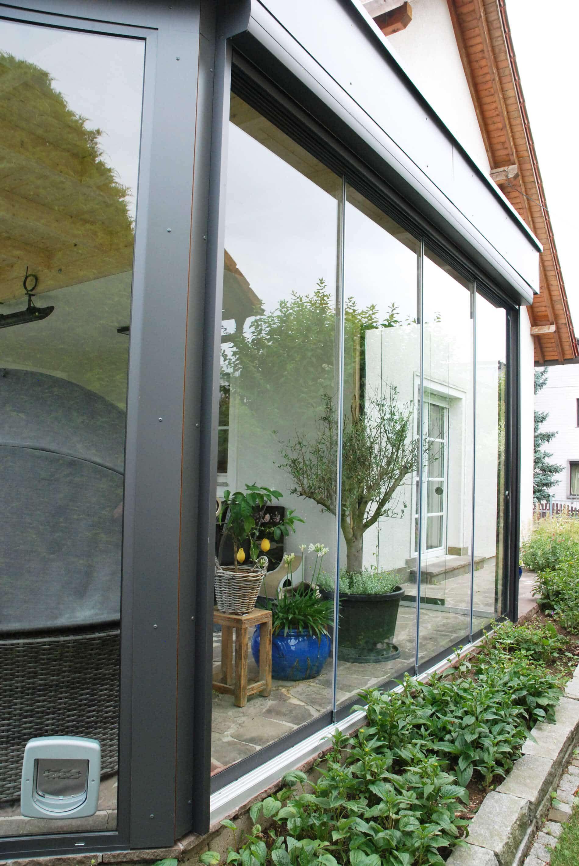 Ganzglas Schiebeelemente Sunflex Wintergarten Sommergarten Und