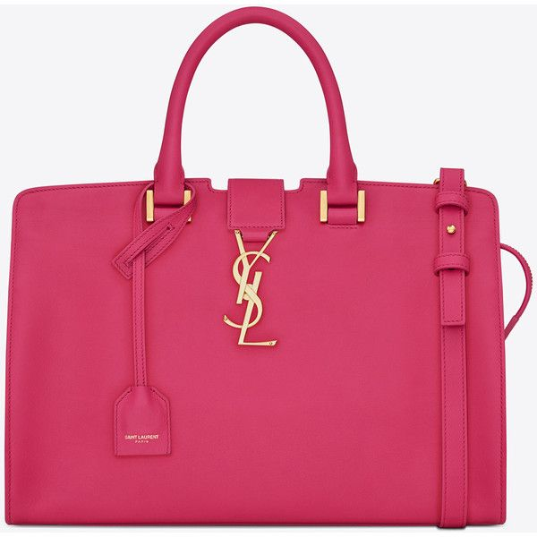 Small Monogram Saint Laurent Cabas Bag In Lipstick Fuchsia Leather ($2,450) ❤ liked on Polyvore featuring bags, handbags, shoulder bags, lipstick fuchsia, leather shoulder handbags, shoulder strap purses, pink leather purse, monogrammed leather purse and monogrammed purses