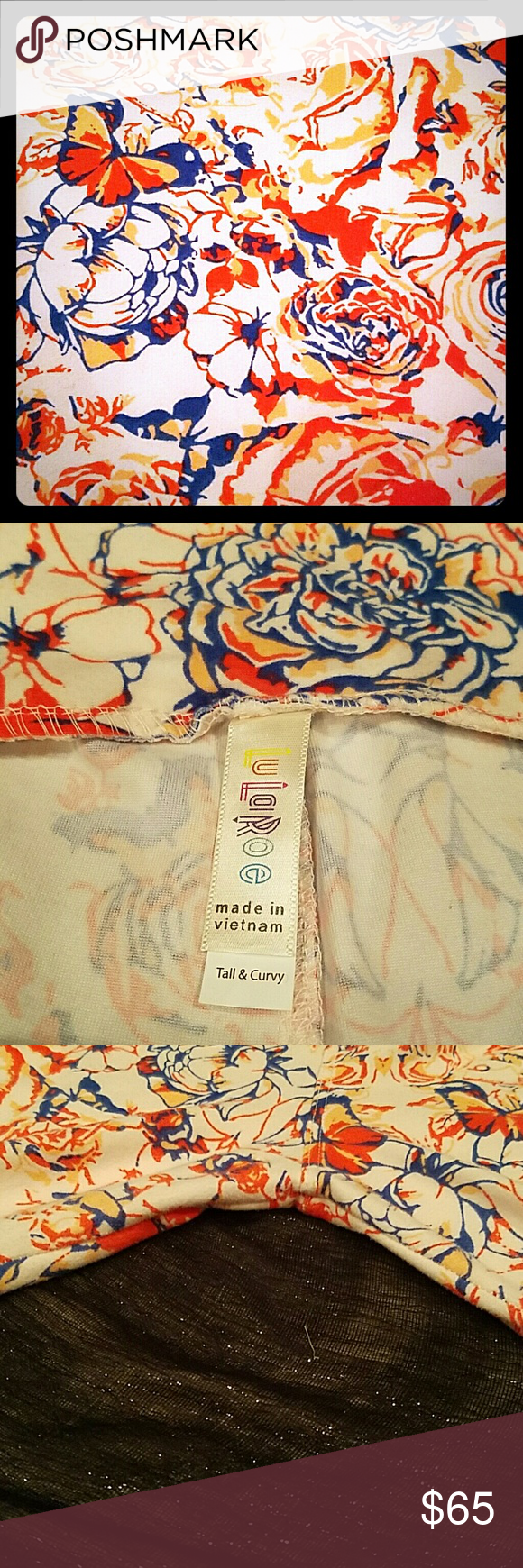 LuLaRoe unicorn legging   rose and butterfly Lularoe butter soft leggings with roses and butterfly design. Light and dark pink with a blue edge. Super soft and comfortable. TC for size 14-22. Worn once and washed by LuLaRoe directions. No stains, rips, or pilling. LuLaRoe Pants Leggings