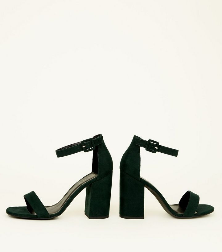 c9fa41338a5a Dark Green Suedette Barely There Block Heels