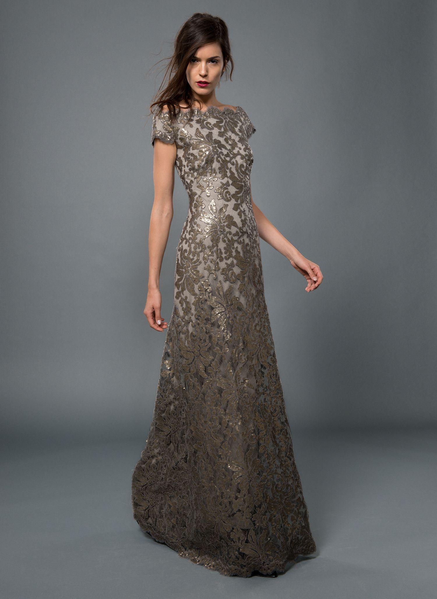 Paillette embroidered lace off shoulder gown in smoke pearl