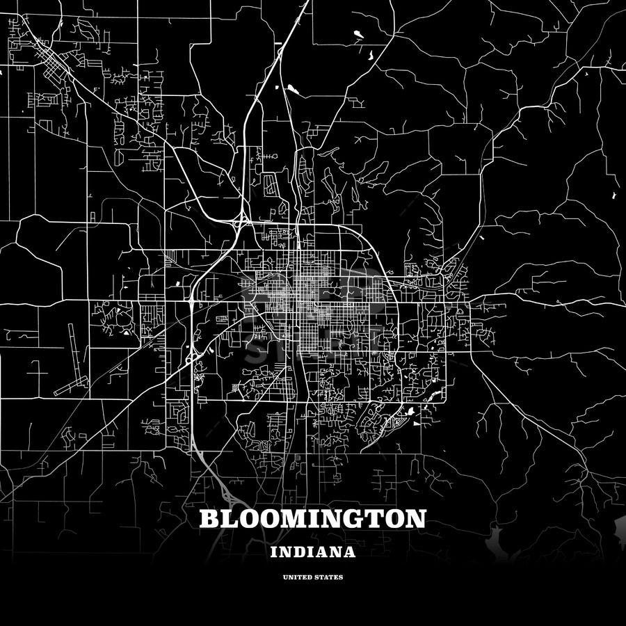 Black map poster template of Bloomington, Indiana, USA   Streit
