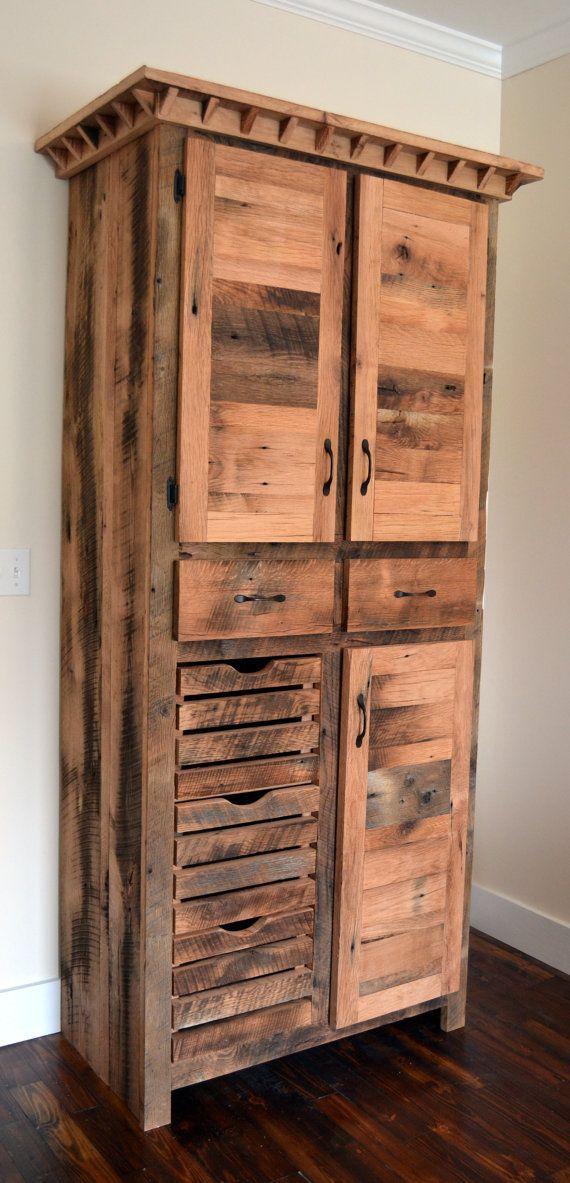 Reclaimed Barnwood Pantry Cabinet Rustic Pantry Rustic Pantry Cabinets Tall Kitchen Pantry Cabinet