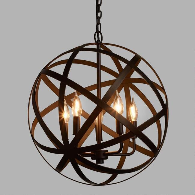 Metal orb chandelier with an aged black finish and an industrial style lighting diningroom