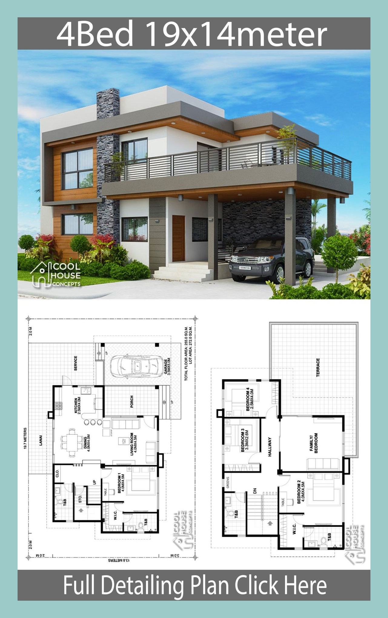 Home Design Plan 19x14m With 4 Bedrooms Homedesign In 2020 Architectural House Plans Beautiful House Plans Model House Plan