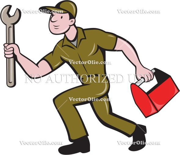 Mechanic Spanner Toolbox Running Isolated Cartoon Cartoon Stock Illustration. Illustration of a mechanic carrying spanner wrench and toolbox running viewed from the side set on isolated white background done in cartoon style. #cartoon illustration #MechanicSpanner