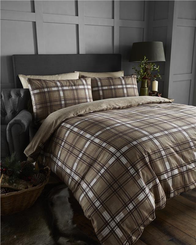 King Size Bedding Brushed Cotton Flannelette Quilt Cover Brown Check Duvet Set Cabin Bedroom Decor Bedroom Decor Yellow Room Decor