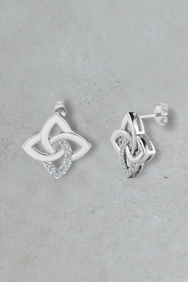 Celtic Knot Stud Earrings Gifts For Her with Diamonds in Sterling Silver exclusively styled by Fascinating Diamonds