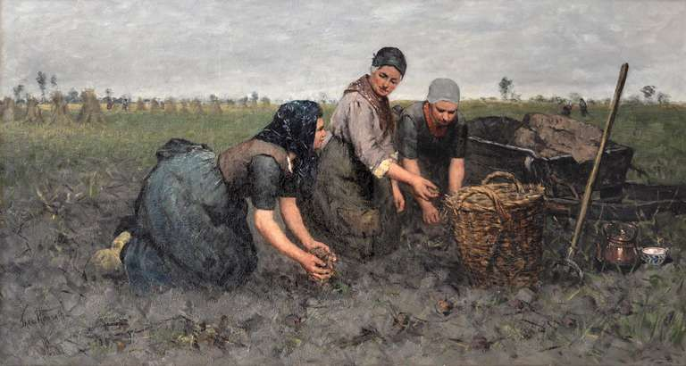 Three women digging up potatoes near Rolde | From a unique collection of landscape paintings at https://www.1stdibs.com/art/paintings/landscape-paintings/