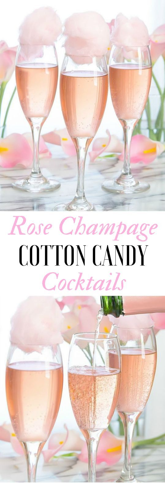 COTTON CANDY CHAMPAGNE COCKTAILS #Cocktail #Drinks