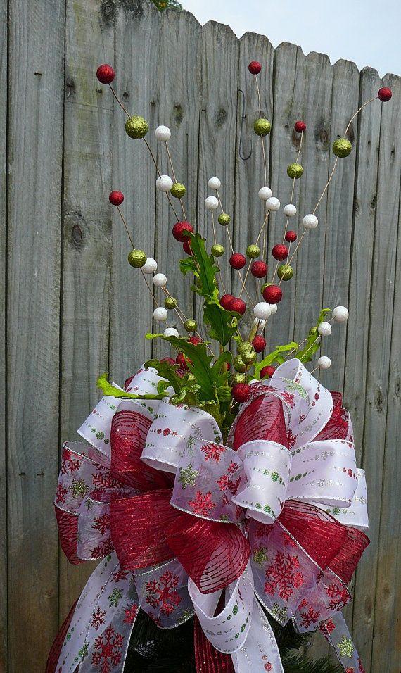 Christmas tree topper-ribbon, glitter ball sprigs & leaves ...
