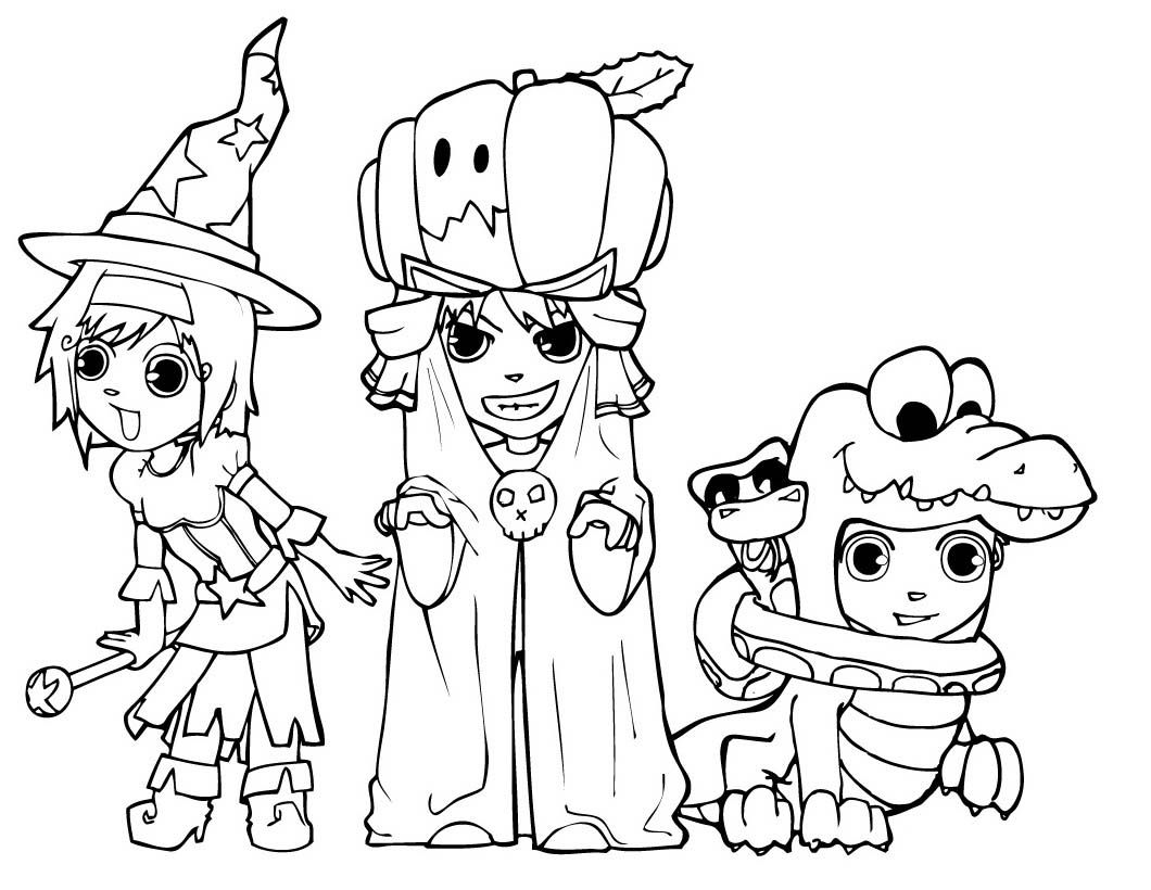 friends on halloween coloring pages : free coloring funny halloween ...