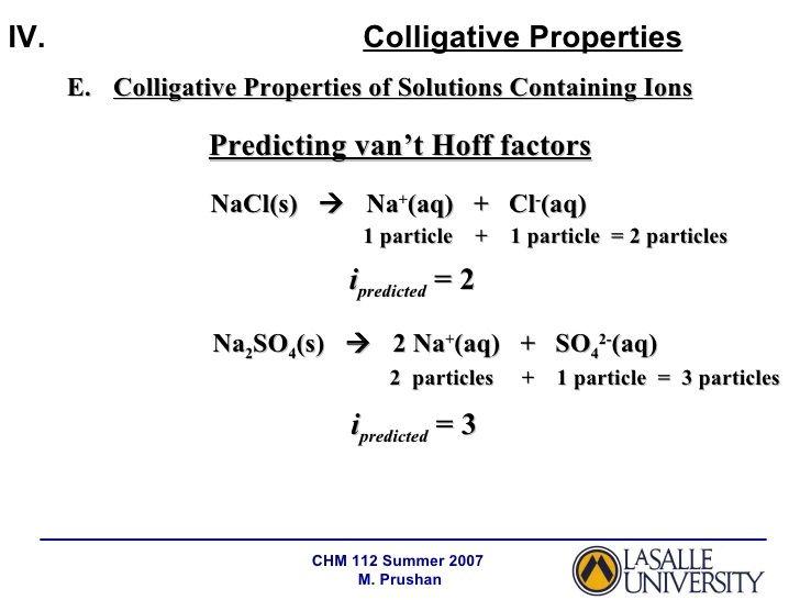 Predicting Vant Hoff I Factors Colligative Properties