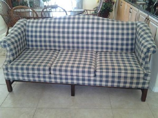 Amazing Camel Back Sofa In Gingham Check