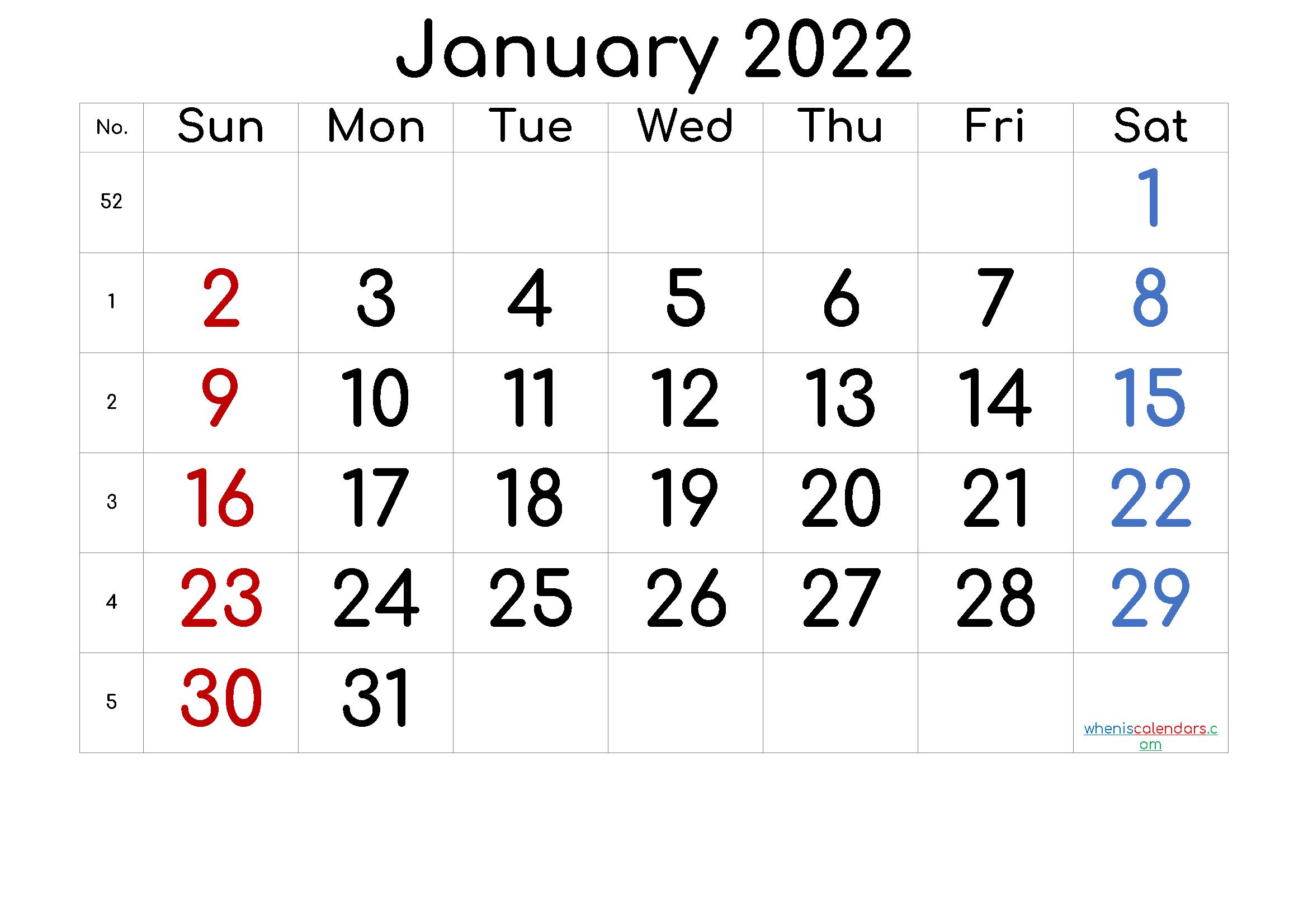 Blank 2022 Monthly Calendar.January 2022 Printable Calendar With Week Numbers Free Premium Printable Calendar Template Calendar Printables Monthly Calendar Printable