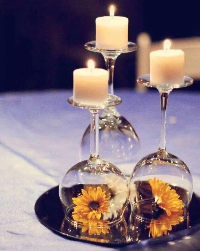 Schöne Deko Einfach Weingläser Umdrehen Kerzen Drauf Und Fertig