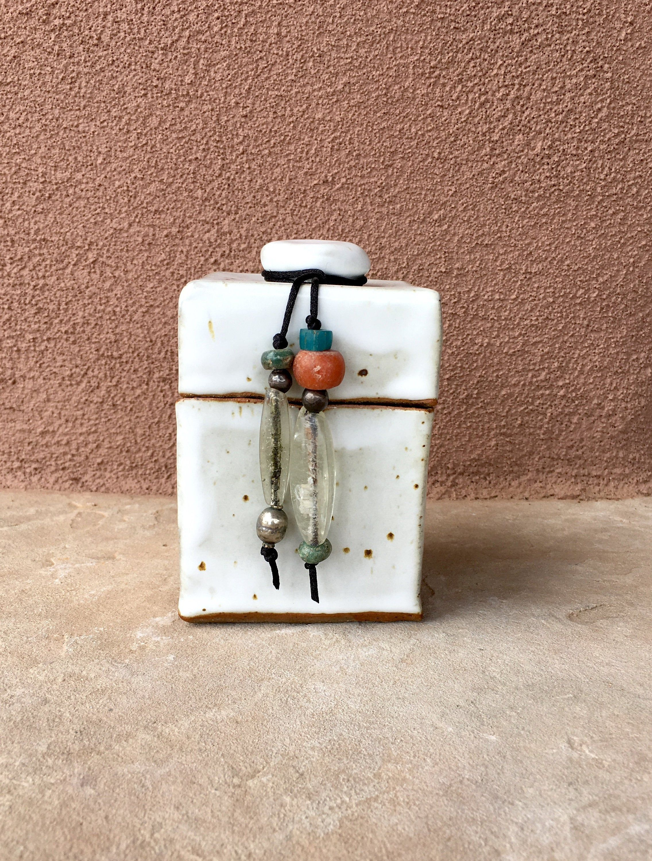 Rustic stoneware ceramic box with ethnic beads