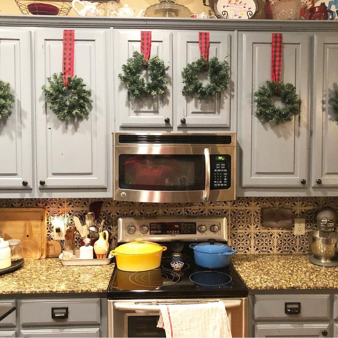 pin by stacey tait on christmas with images home decor kitchen cabinets decor on kitchen cabinets xmas decor id=45690
