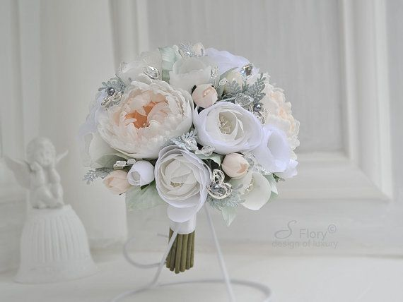 Brooch bouquet various white and mint. Bridal by SFlorystyling, $300.00