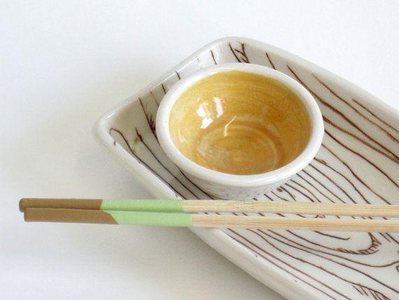 Sushi set  sushi plate snack set  snack tray  wood by jilljburns, $45.00