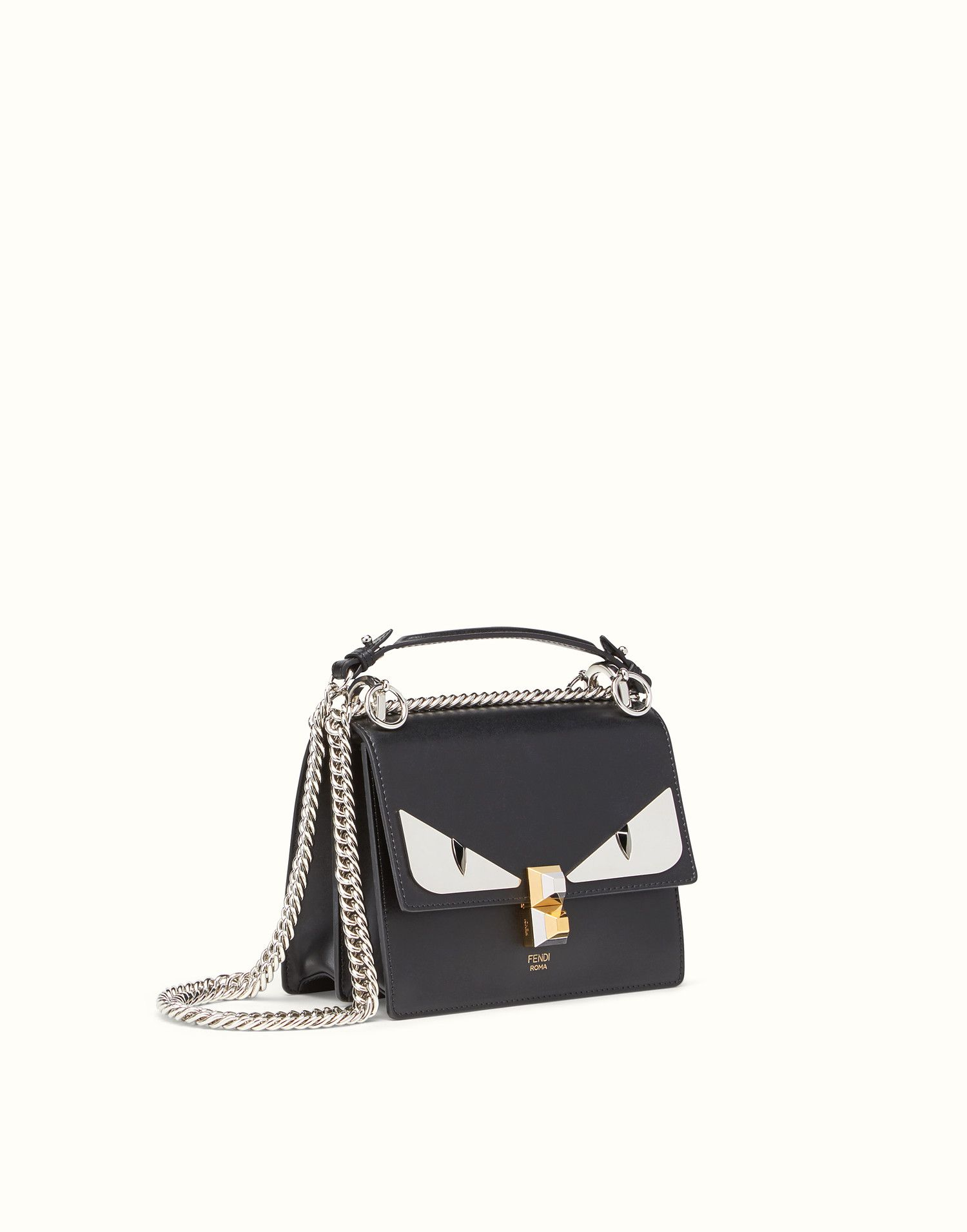d60a865daaab FENDI KAN I SMALL - Bag Bugs black leather mini bag
