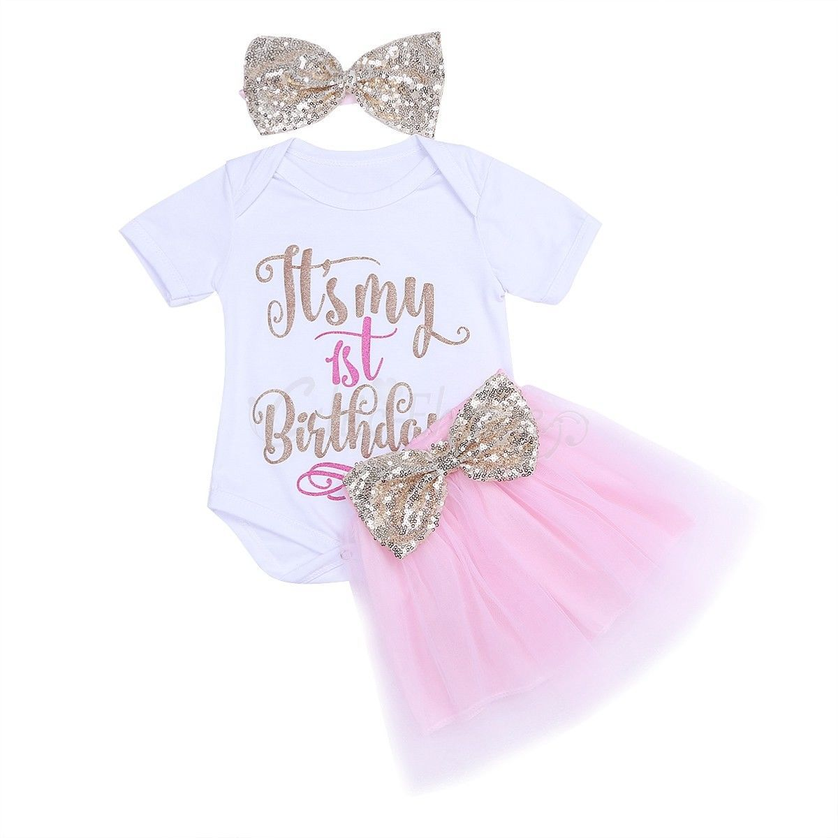 e182352c396 3 Pcs It s My 1St Birthday Girl Dress Romper Headband Party Tutu Skirt  Outfit Trajes Para