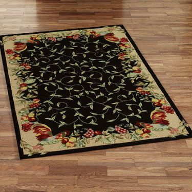 Rooster And Fruit Border Hooked Area Rugs Kitchen Area Rugs