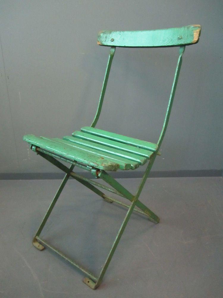 Set Of 6 Antique Wrought Iron Folding Chairs Garden Patio