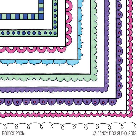 Color Doodle Border Frames - Clip Art Digital Download - Square. $4.50, via Etsy.