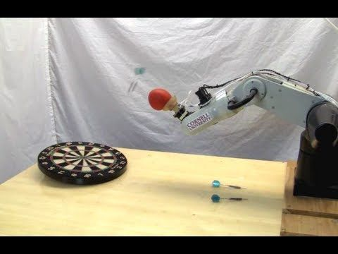 Universal robot gripper sinks shots, throws darts. quite the lol
