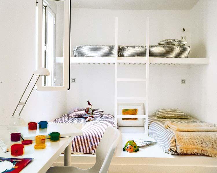 Cama colgada pared espacios spaces pinterest - Habitaciones con tres camas ...
