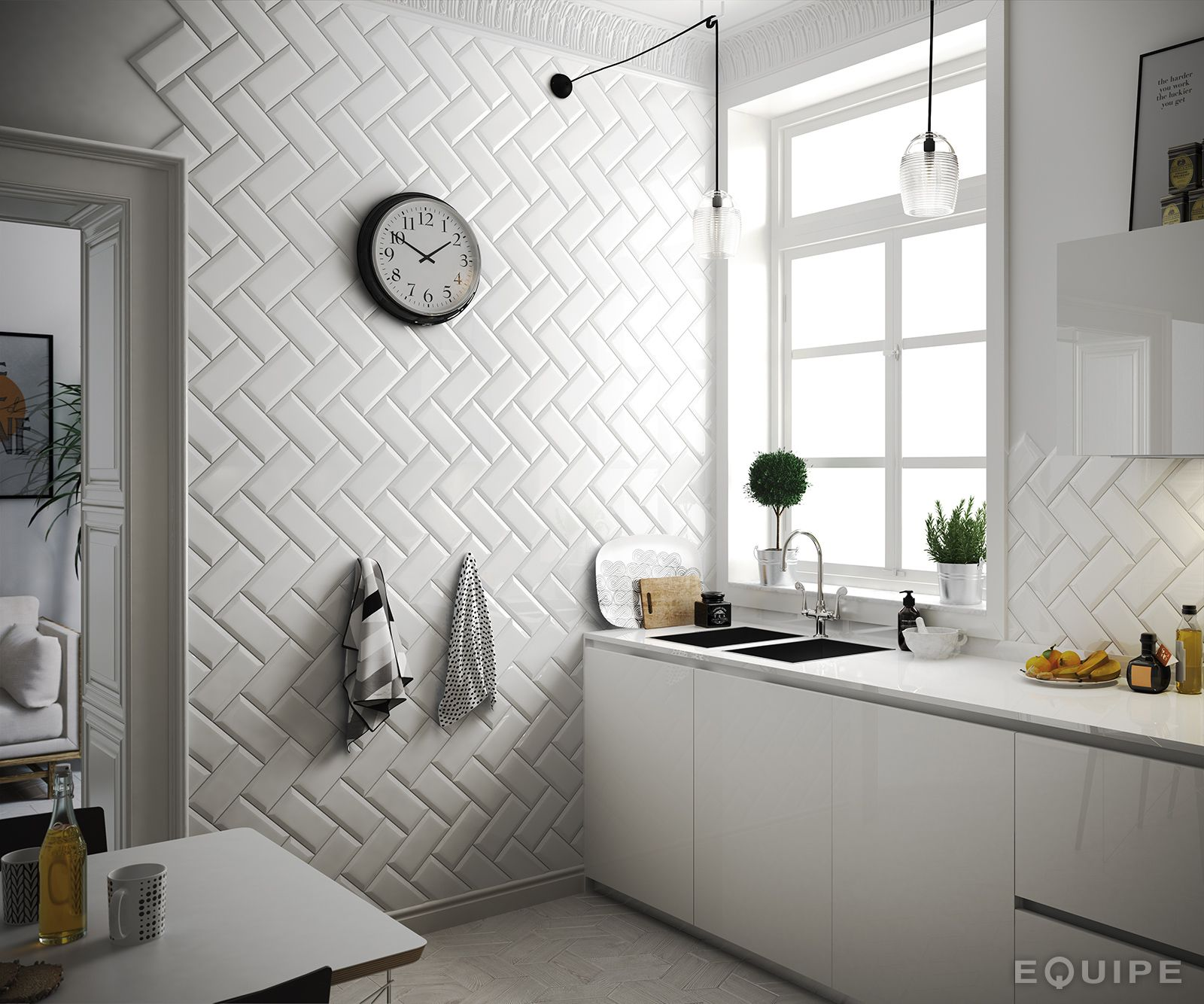 Interior Design For Kitchen Tiles: Metro White 10x20. #architecture, #architect, #bath