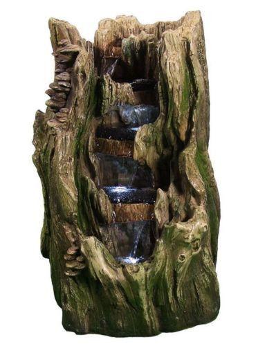 Cascading Water Fountain Electric Tree Trunk Falls Garden Fixture LED  Lights New | Garden Ideas | Pinterest | Tree Trunks, Water Fountains And  Fountain