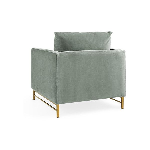 """Hayden 38"""" Upholstered Brass Satin Chair in Vance Cloud (2,155 CAD) ❤ liked on Polyvore featuring home, furniture, chairs, accent chairs, vance, brass furniture, upholstery chairs, brass chair and fabric chairs"""