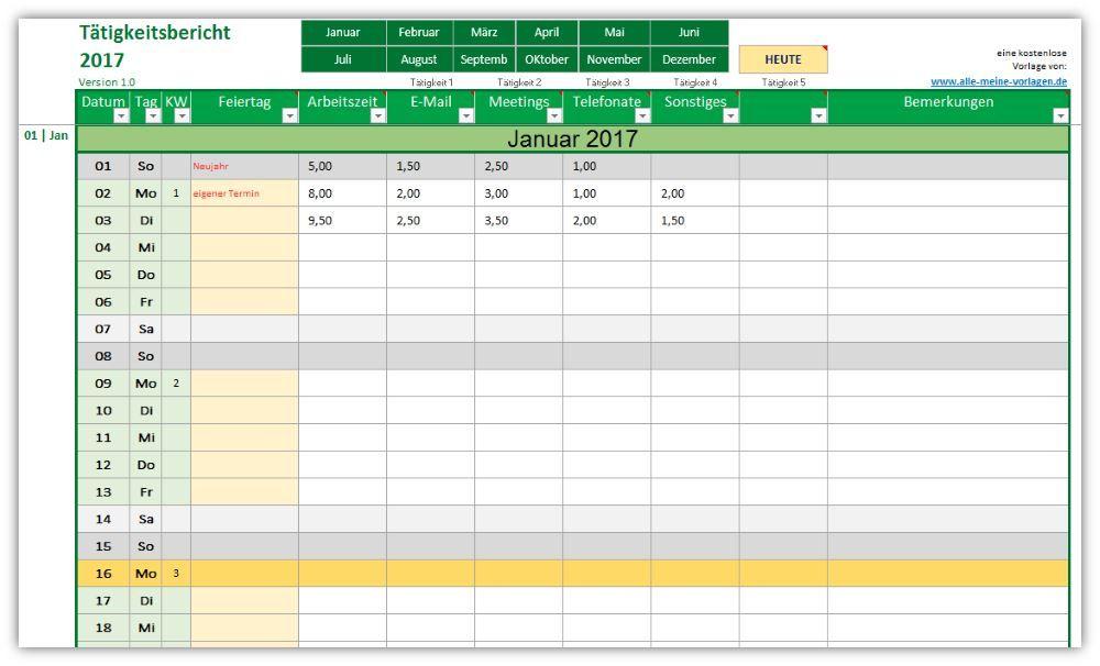 Tätigkeitsbericht / Tätigkeitsnachweis. Mit dieser Vorlage kannst du ...