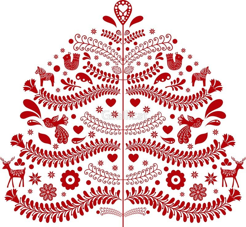 Red Scandinavian Folk Art Style Christmas Tree Design Sticker By Gsallicat Christmas Tree Art Scandinavian Folk Art Scandinavian Christmas Trees