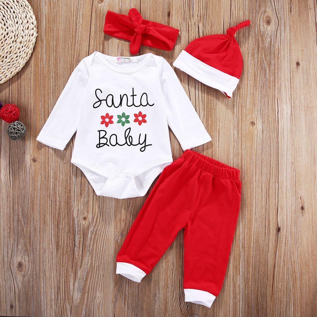 Christmas Newborn Baby Boys Girl Xmas Clothes Tops+Pants+Hat Outfit Costume Set