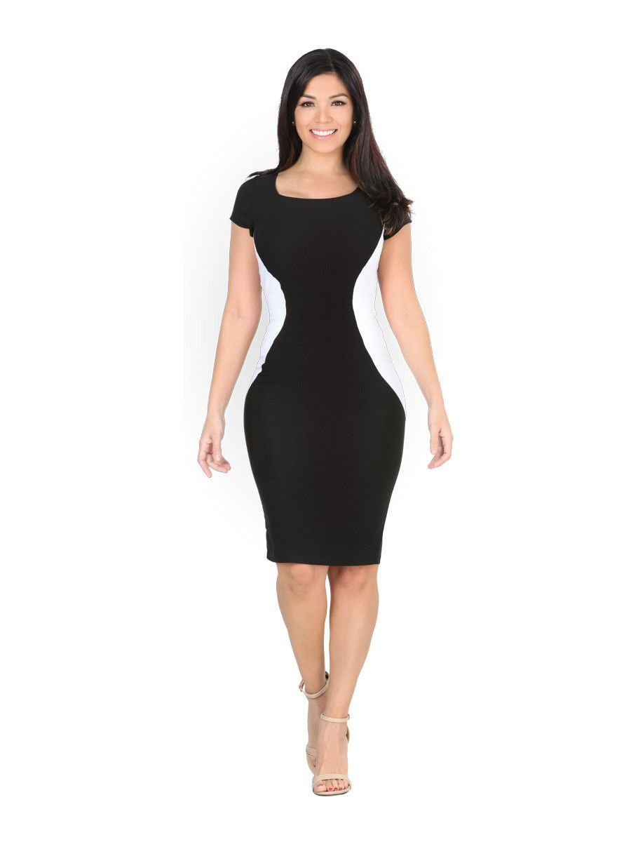 Sexy short sleeve bandage knee length round neck bodycon party dress