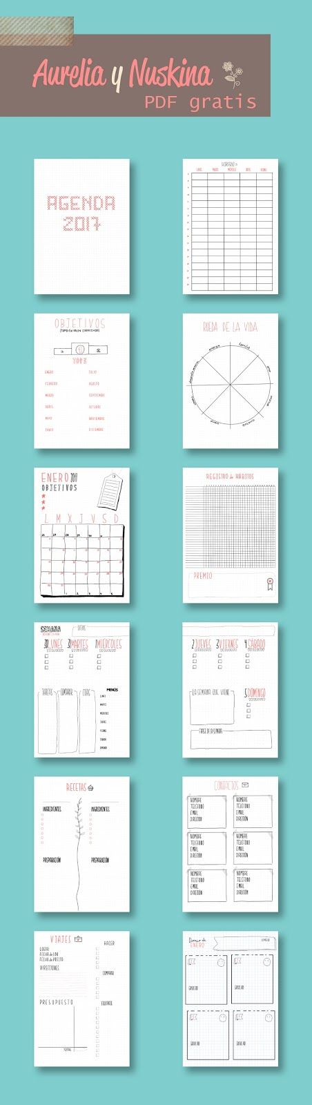 Free Printable Irma Weekly Planners in the color Sea by Eliza - agenda word