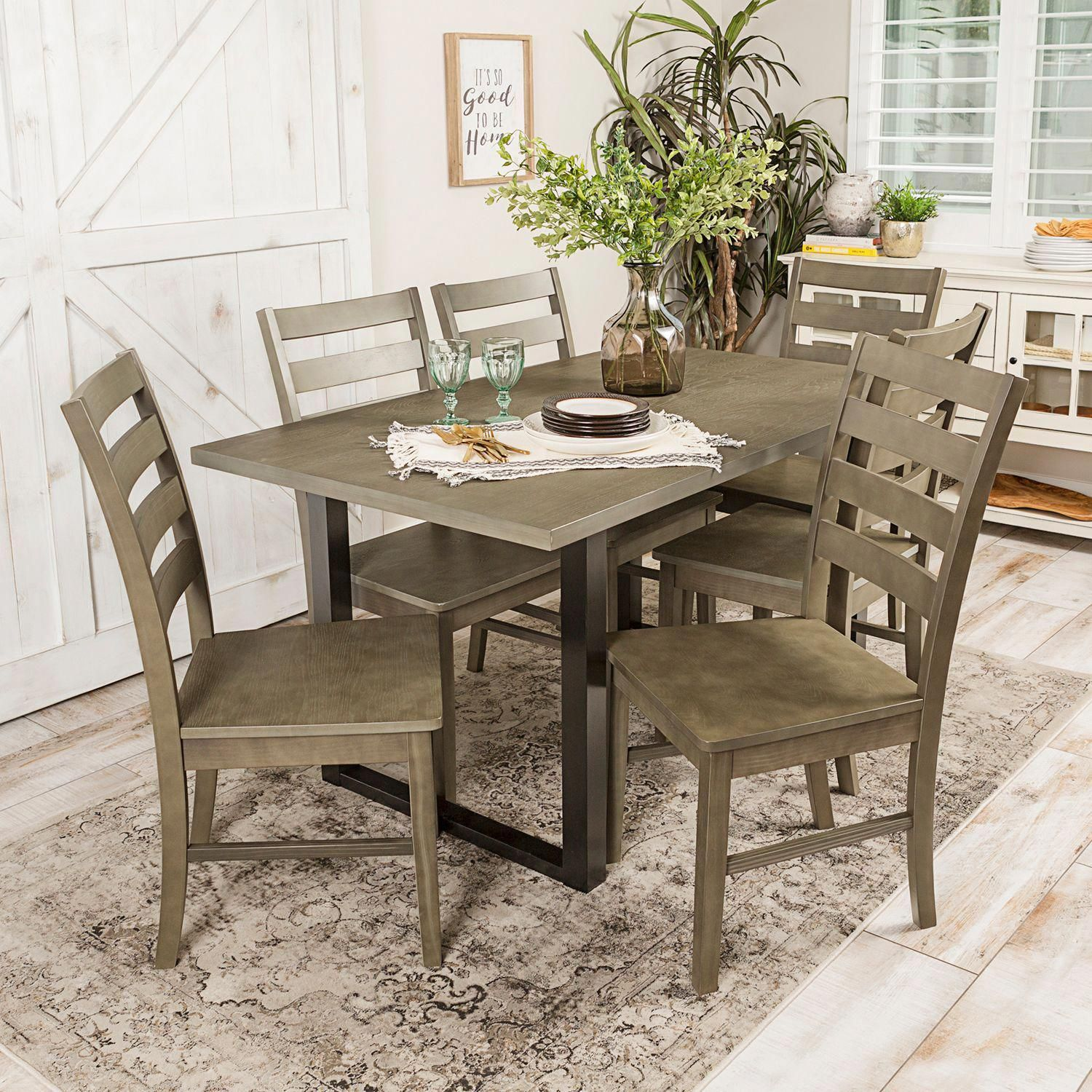Best 892 Madison Aged Gray 7 Piece Dining Set Pier 1 Imports 400 x 300