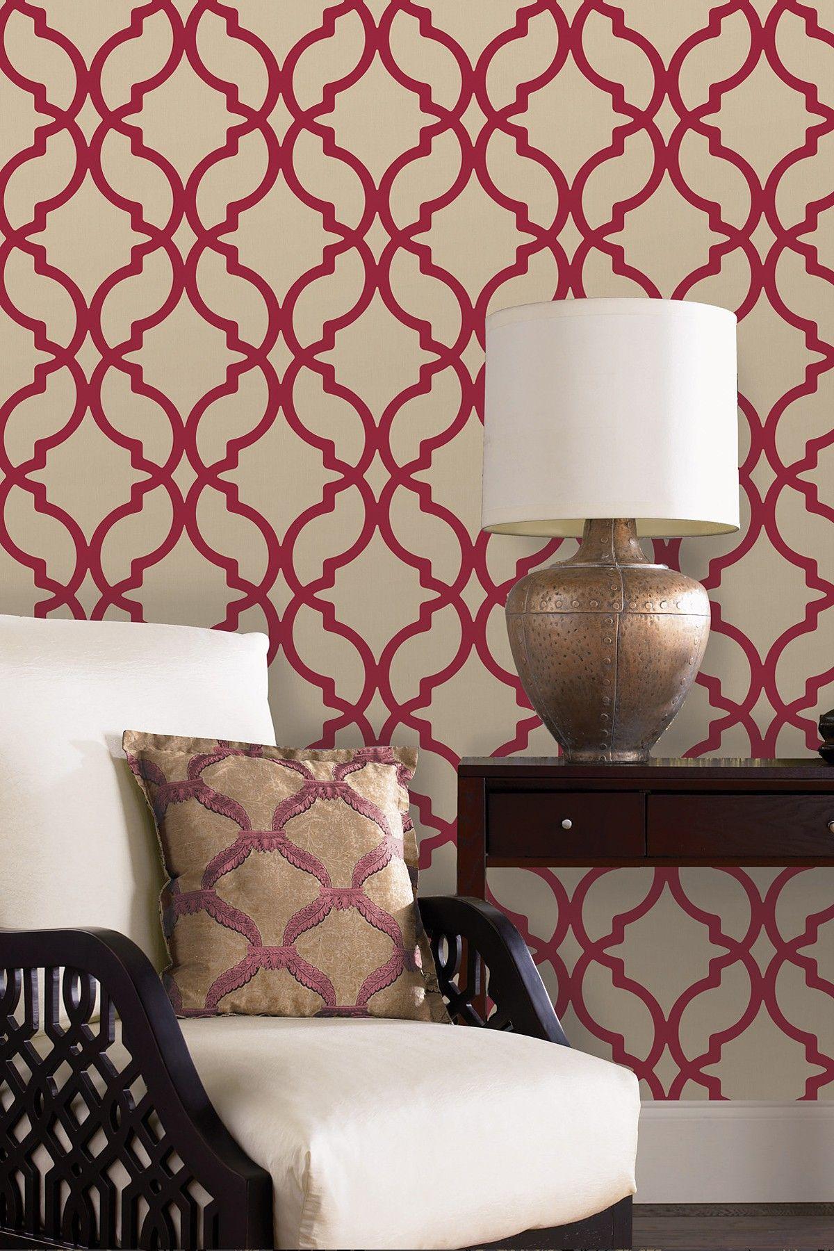 Harira Red Moroccan Trellis Wallpaper Design Living