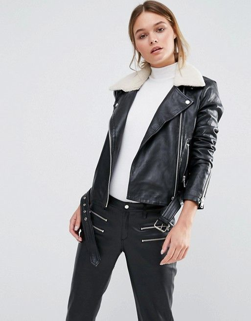 625865ef0414 Y.A.S Ash Leather Jacket with White Faux Shearling Collar