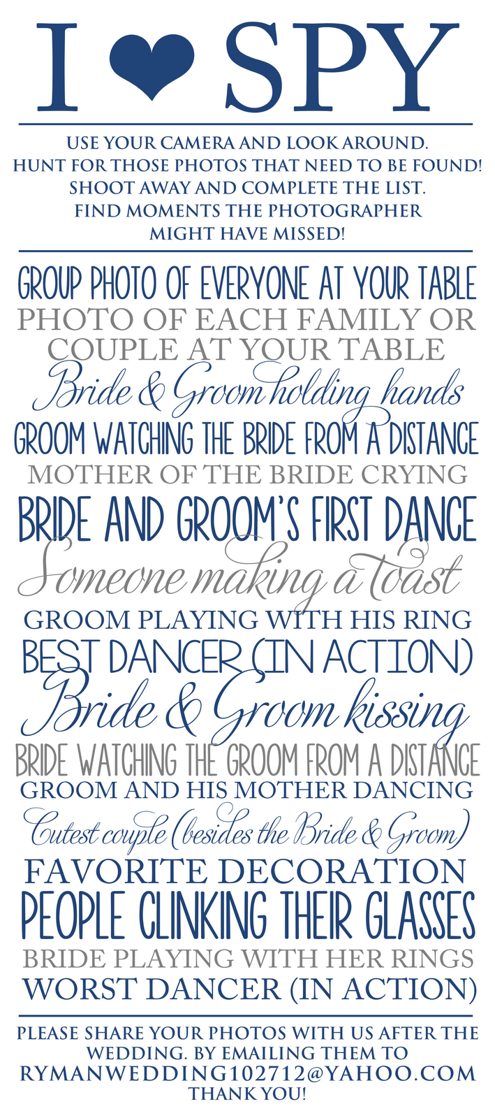 Wedding I Spy On Pinterest Wedding Table Games Wedding