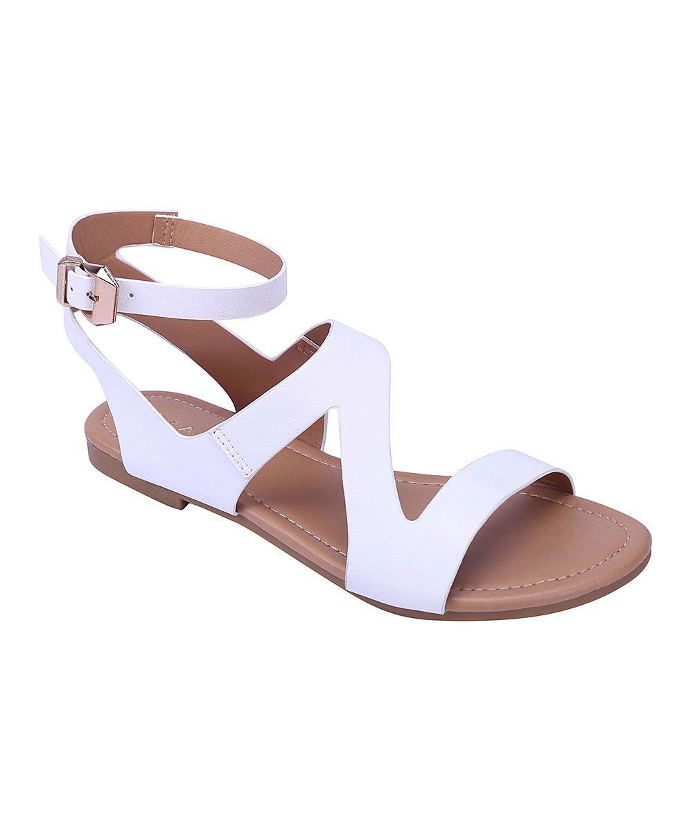 1b9775d9c1d59 White Faux Leather Asymmetrical Sandal | Products | Shoes, Fashion ...